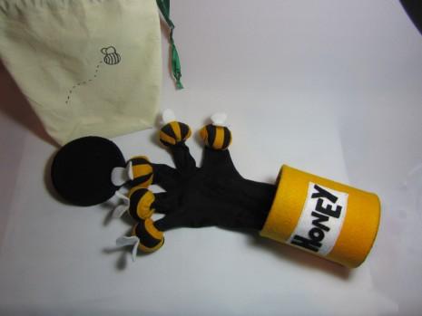 Bees around a Honeypot Glove Puppet by Ena Green Designs