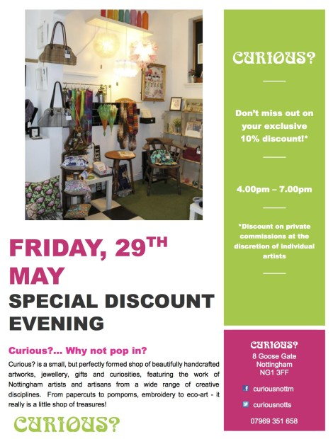 Curious Discount Evening Flyer May 2015