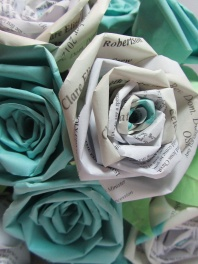 1st Anniversary flowers made from the Order of Service by Ena Green Designs