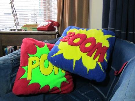 POW & BOOM fleecy Cushions by Ena Green Designs