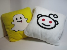 Snapchat & Reddit Fleecy Cushions by Ena Green Designs