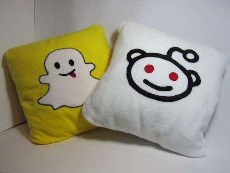 Snapchat & Reddit Fleecy Cushions by Ena Green Designs