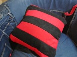 Back of Dennis & Gnasher Fleecy Cushion by Ena Green Designs