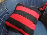 Back of Dennis & Gnasher Fleecy Cushion by Ena Green Designs